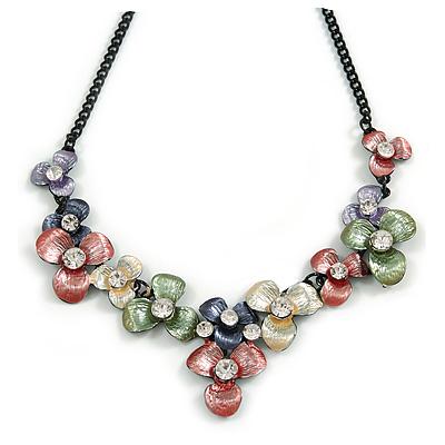 Pastel Multicoloured Matte Enamel Flower Cluster Clear Crystal Necklace In Black Tone - 42cm L/ 5cm Ext - main view