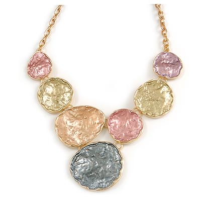 V-Shape Pastel Multi Matte Enamel Beaten/ Hammered Disc Necklace In Gold Tone - 40cm L/ 6cm Ext