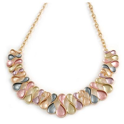 Statement Gold Tone Graduated Frill Motif Necklace in Pastel Multi - 40cm L/ 6cm Ext