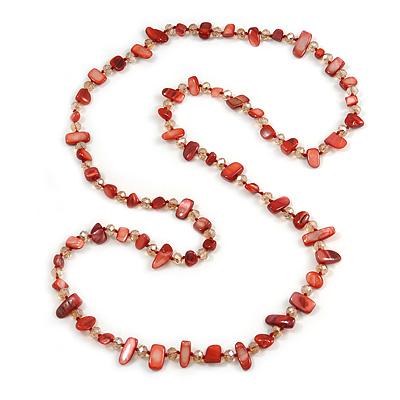 Long Coral Red Shell/ Light Topaz Glass Crystal Bead Necklace - 115cm L