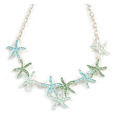 Pastel Green/ Mint/ Light Blue Hammered Enamel Starfish Necklace in Silver Tone - 42cm L/ 6cm Ext