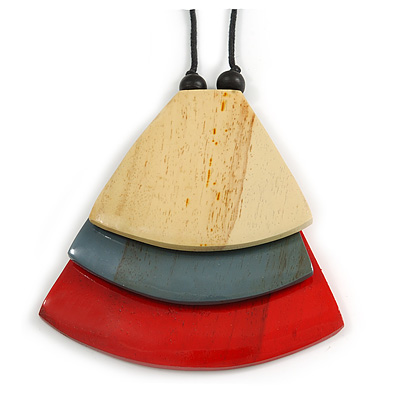 Natural/ Grey/ Red Geometric Triangular Wood Pendant with Long Black Cotton Cord Necklace - 9cm L Pendant/ 100cm L/ (max length) - Adjust