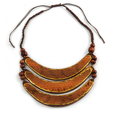 Tribal Layered Wooden Bar with Snake Print Leather Detailing Cotton Cord Necklace (Brown) - 54cm L (Min)/ Adjustable