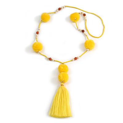 Banana Yellow Glass Bead, Pom Pom, Tassel Long Necklace - 88cm L/ 17cm Tassel