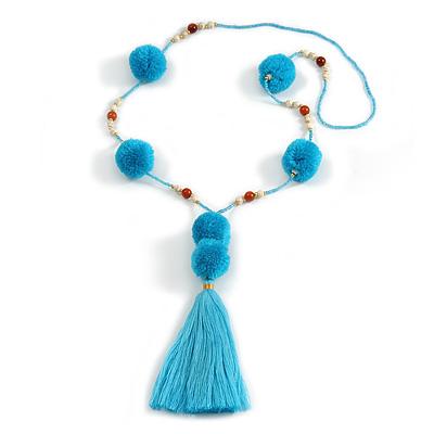 Turquoise Blue Pom Pom, Glass Bead, Tassel Long Necklace - 88cm L/ 17cm Tassel