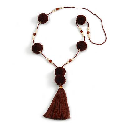 Deep Brown Pom Pom, Glass Bead, Tassel Long Necklace - 88cm L/ 17cm Tassel