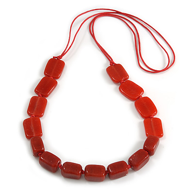 Red Square Ceramic Bead Cotton Cord Necklace - 90cm Long