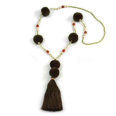 Dark Olive Pom Pom, Glass Bead, Tassel Long Necklace - 88cm L/ 17cm Tassel