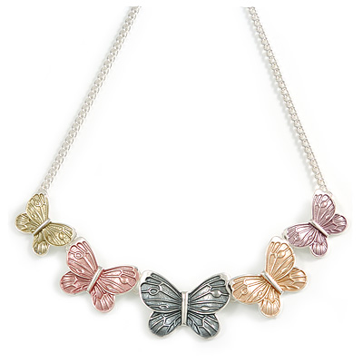 Pastel Pink/ Grey/ Yellow Enamel Butterfly with Silver Tone Chain Necklace - 40cm L/ 6cm Ext