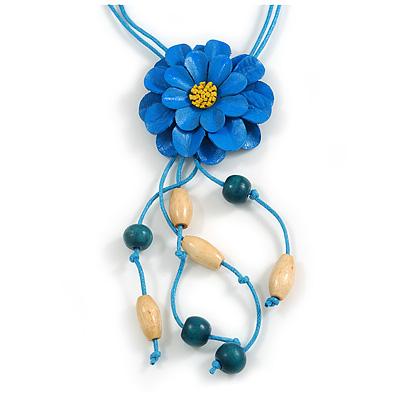 Blue Leather Daisy Pendant with Long Cotton Cord - 80cm L/ 18cm L Pendant - Adjustable