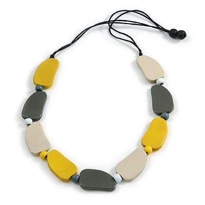 Yellow/ Off White/ Grey Geometric Wood Bead Black Cotton Cord Long Necklace - 76cm L/ Adjustable
