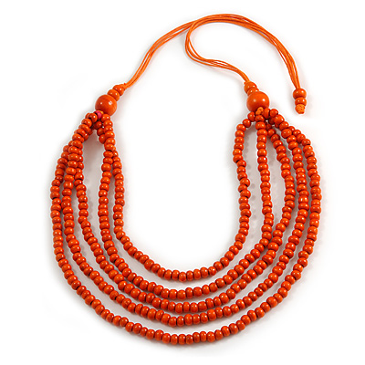 Orange Multistrand Layered Wood Bead with Cotton Cord Necklace - 90cm Max length- Adjustable
