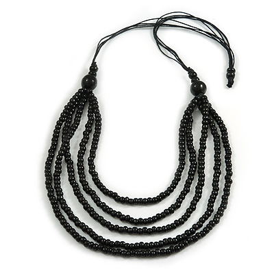 Multistrand Layered Black Wood Bead with Cotton Cord Necklace - 90cm Long (Max Length) - Adjustable