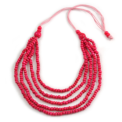 Deep Pink Multistrand Layered Wood Bead with Cotton Cord Necklace - 90cm Max length- Adjustable