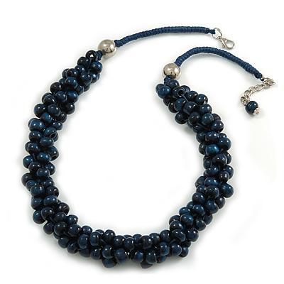 Dark Blue Cluster Wood Bead Cotton Cord Necklace - 52cm L/ 4cm Ext