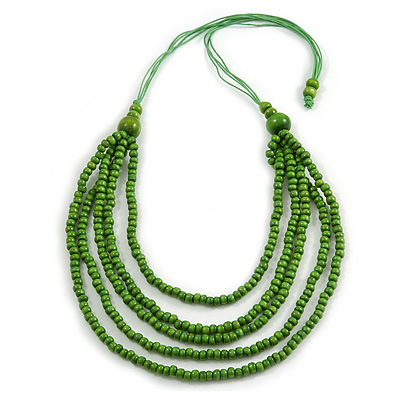 Lime Green Multistrand Layered Wood Bead with Cotton Cord Necklace - 90cm Max length- Adjustable