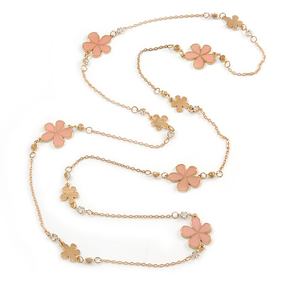 Long Light Pink Enamel Daisy Floral Necklace In Gold Plating - 112cm L