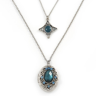 Vintage Inspired Two Strand Blue/ Teal Crystal Locket Necklace - 66cm L
