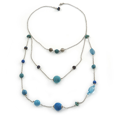 Retro Style Layered Blue Cotton, Acrylic Bead Necklace In Pewter Tone Metal - 74cm L
