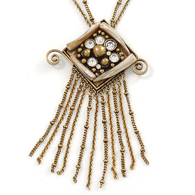 Vintage Inspired Square Tassel Pendant with Double Chain Necklace In Antitque Gold Tone - 68cm L/ 6cm Ext
