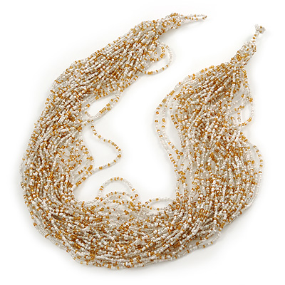 Chunky Gold/ White/ Transparent Glass Bead Bib Necklace - 64cm L