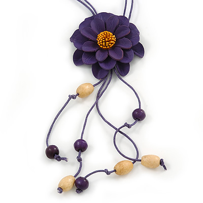 Deep Purple Leather Daisy Pendant with Long Cotton Cord - 80cm L - Adjustable