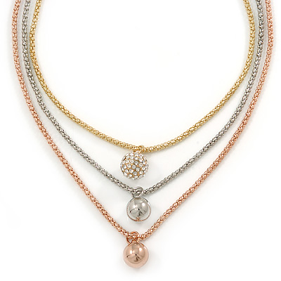 3 Strand Layered Gold/ Silver/ Rose Gold Mesh Chain With Ball Charm Necklace - 54cm L/ 4cm Ext