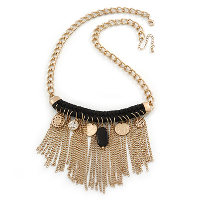 Statement Gold Tone with Black Cotton Cord Fringe Necklace - 63cm L/ 7cm Ext/ 11cm Pendant