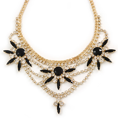 Statement Black/ Clear Crystal Stone Flower Embellished Necklace In Gold Plating - 42cm L/ 8cm Ext