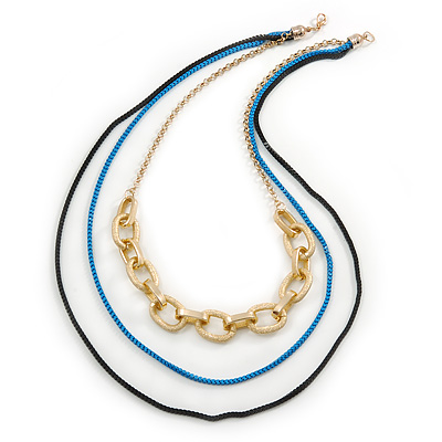 3 Strand, Layered Oval Link, Box Style Chain Necklace In Black/ Light Blue/ Gold Tone - 86cm L - main view