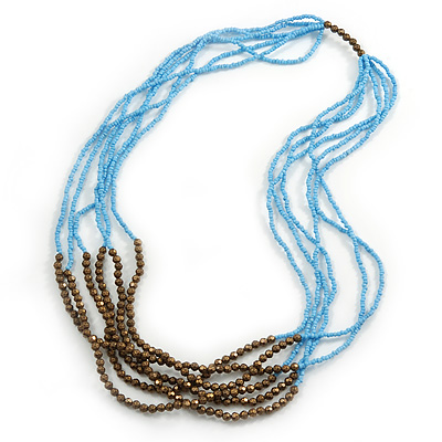 Long Multistrand Light Blue/ Brown Glass Bead Necklace - 80cm L
