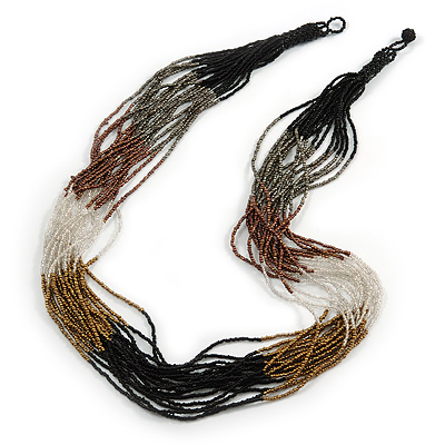 Long Multistrand Glass Bead Necklace (Gold, Bronze, Black, Grey, Transparent) - 84cm L