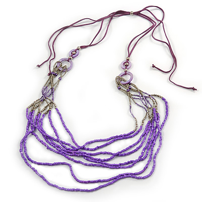 Long Multistrand Stone, Glass Bead, Sea Shell with Suede Cord Necklace (Purple, Grey, Metallic) - 110cm L/ 120cm L- Adjustable