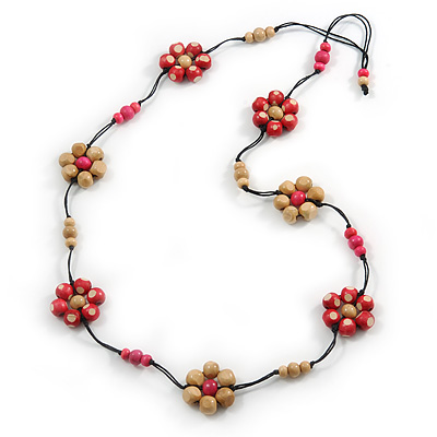 Long Cream/ Pink Wooden Flower Black Cotton Cord Necklace - 100cm L