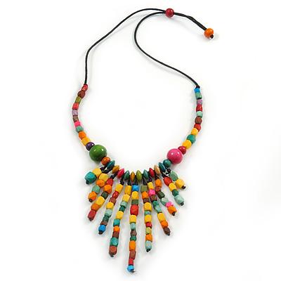 Multicoloured Wood Bead with Black Cotton Cord Bib Necklace - 60cm L