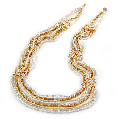 Long Multistrand Glass Bead Necklace (White, Gold, Transparent) - 100cm L
