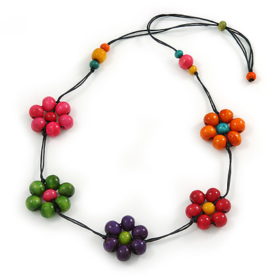 Long Multicoloured Wooden Flower Black Cotton Cord Necklace - 74cm L