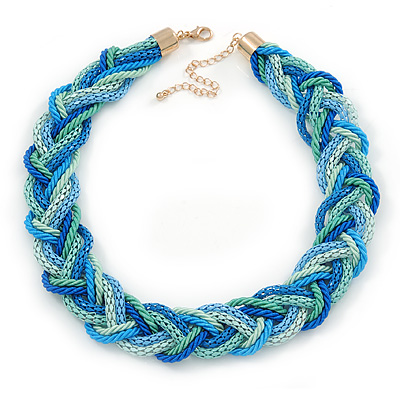 Blue/ Azure/ Light Green Mesh Chain and Silk Cords Choker Necklace In Gold Tone - 42cm L/ 8cm Ext - main view