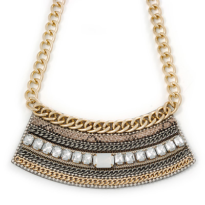 Tribal Jewelled Chain Collar Necklace In Gold Tone - 42cm L/ 4cm Ext
