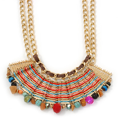 Tribal Semiprecious Bead with Multicoloured Silky Cord Bib Necklace In Gold Tone - 40cm L/ 8cm Ext