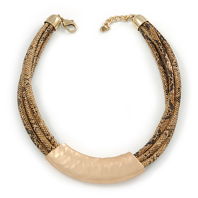 Statement Brown Snake Style Faux Leather Multi Cord Choker Necklace with Hammered Gold Tone Pendant - 43cm L/ 3cm Ext