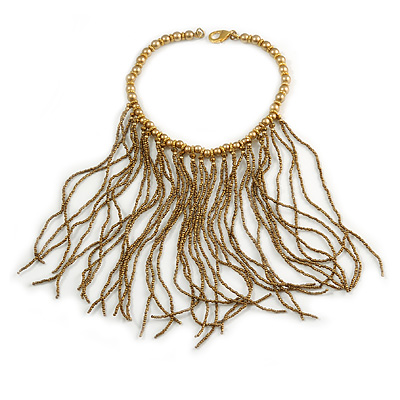 Statement Gold/ Bronze Glass Bead Fringe Necklace - 41cm L/ 20cm Front Drop