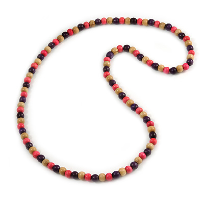 Chunky Long Round Bead Necklace (Natural/ Deep Pink/ Purple) - 124cm L