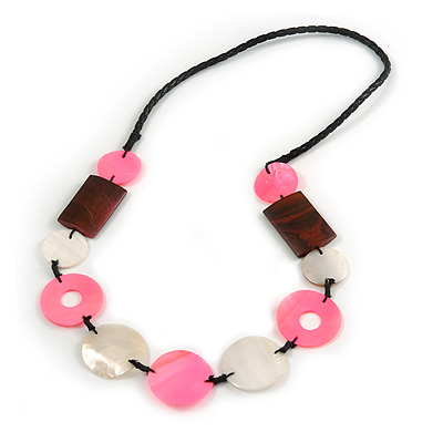 Pink/ Natural Shell, Wood Bead Black Faux Leather Cord Necklace - 80cm L