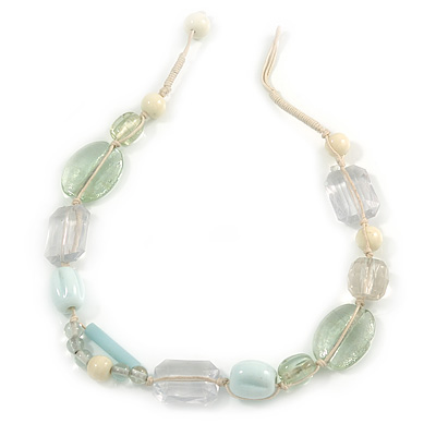White, Pale Green Ceramic, Glass Beads White Cord Necklace - 44cm L