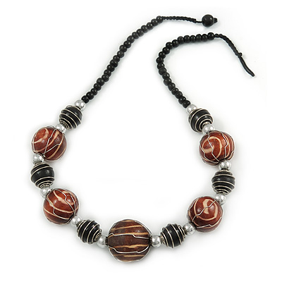 Brown/ Black Wood Bead with Wire Detailing Necklace - 56cm L