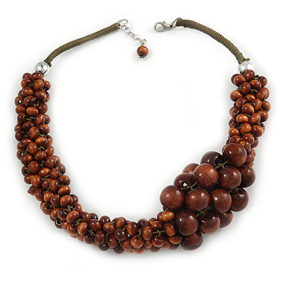 Brown Bead Cluster Cord Necklace - 48cm L/ 3cm Ext - main view