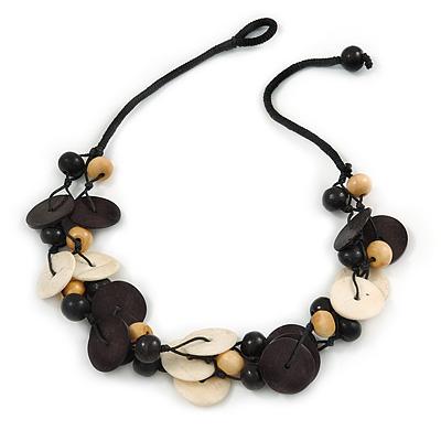 Black/ Natural Wood Bead Black Cord Necklace - 52cm L