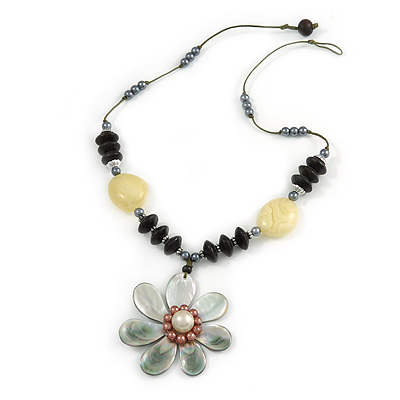 Mother Of Pearl Flower Pendant with Wood/ Resin Bead Chain - 56cm L