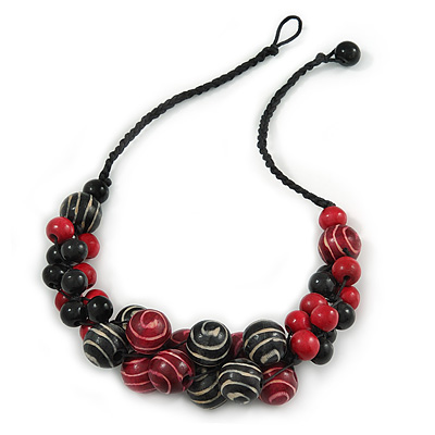 Black/ Red Cluster Wood Bead With Black Cord Necklace - 54cm L
